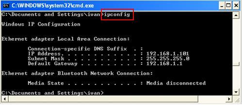 Как узнать свой IP адрес ipconfig